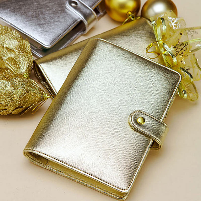 Dokibook New Notebook A5 & A6 Leather Loose-Leaf Notepad Time Planner Series Gold Silver Diary Memo Travel Journal Cute