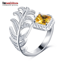 LZESHINE Adjustable Size New Feather Finger Rings With Yellow CZ Real 925 Sterling Silver Party Jewelry