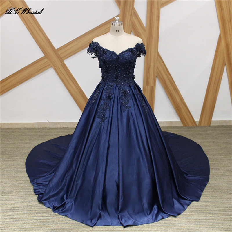 Navy Blue 1 Meter Long Train   Evening     Dress   Boat Neck Cap Sleeve Beaded Lace Satin Princess Prom Gowns 2019 Vestido De Fiesta