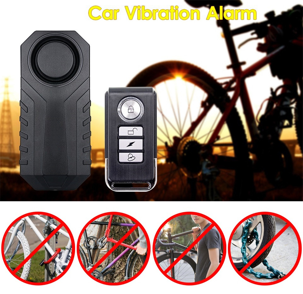 Anti Lost Vibration Warning Alarm Sensor Bicycle Motorcycle Car Safety Kit Waterproof IP55 Remote Control 113dB