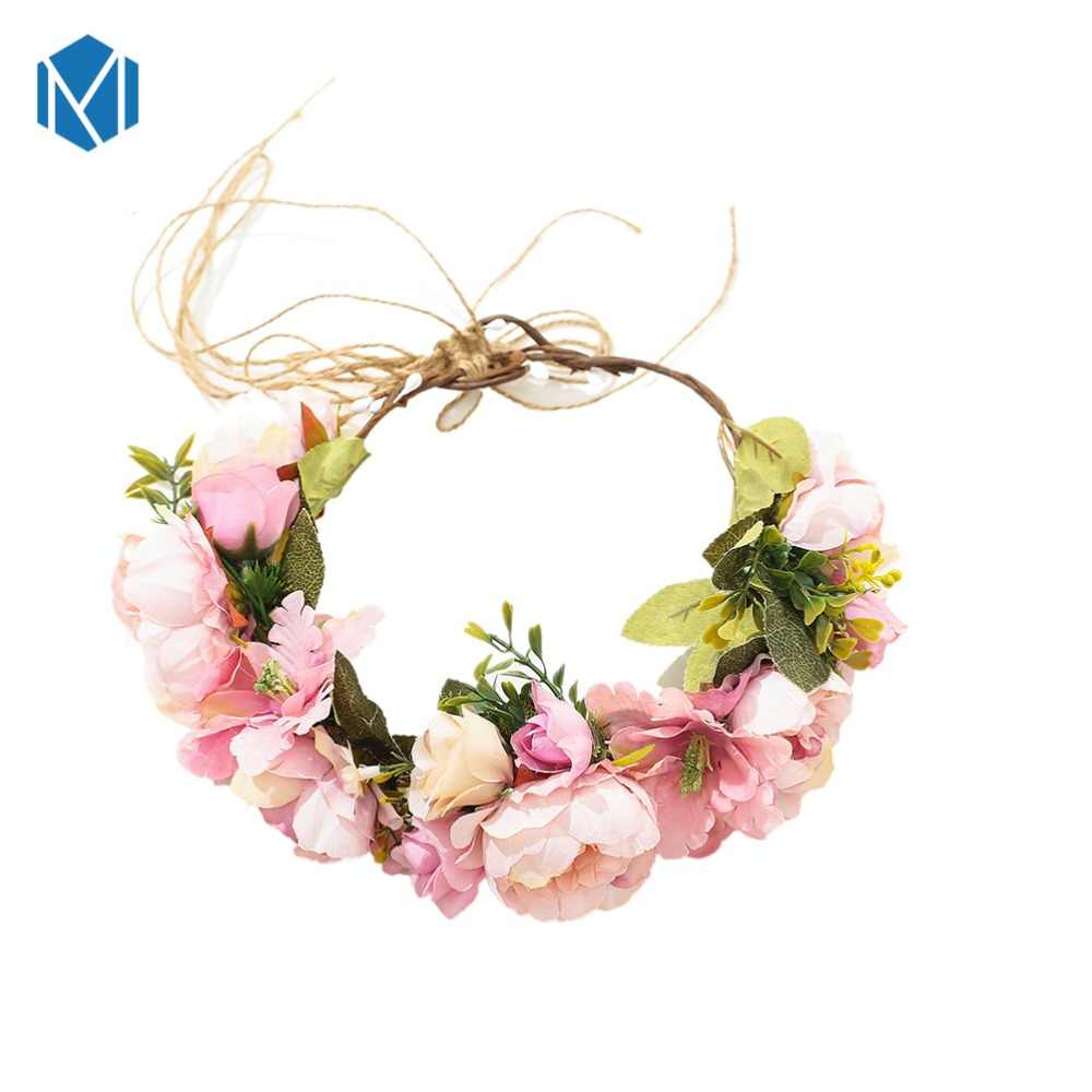 MISM Wedding Flower Headband Girls Boho Flowers Headwear Children Headbands Hair Accessories Bride Wreath Beach Party Garland