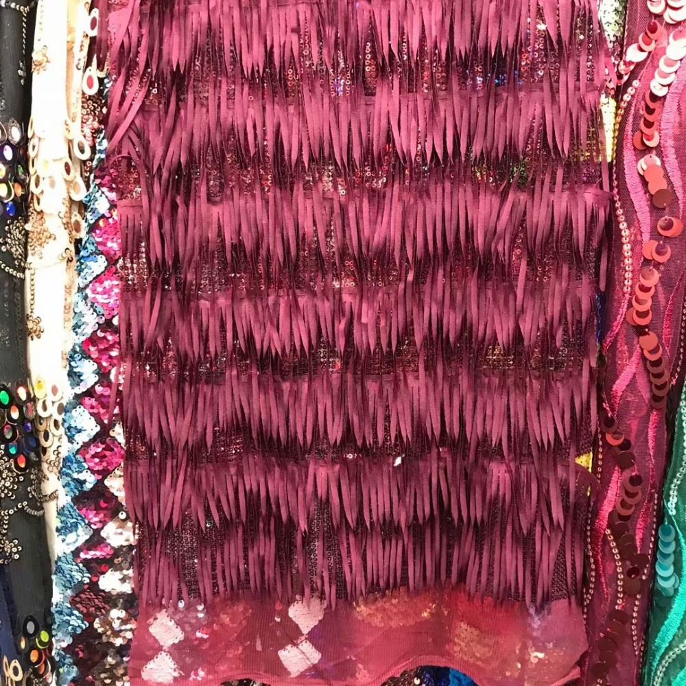 African sequin tassel fabric hand made with high quality French voile Guipure 3d beaded lace fabric