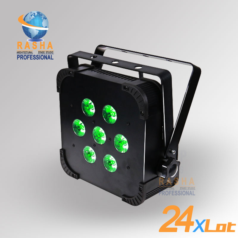 24X Hot Sale Rasha Quad 7*10W RGBA/RGBW 4in1 Wireless LED Flat Par Profile,LED Flat Par Can,Disco DMX512 Stage Light