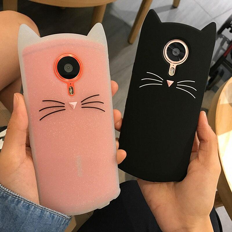 Cute 3D Glitter Bearded Cat Case For Meitu M8 M6 M6S M4 Case Meitu T8 Case Cartoon Soft Silicon Coque Back Cover winnie the pooh iphone case