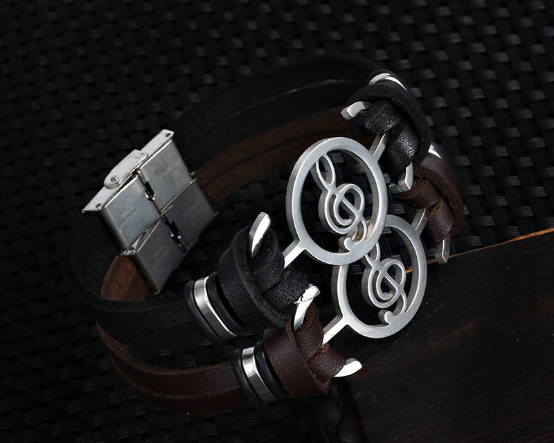 Stainless steel Music Leather Bracelets with Treble Clef IMG_0126