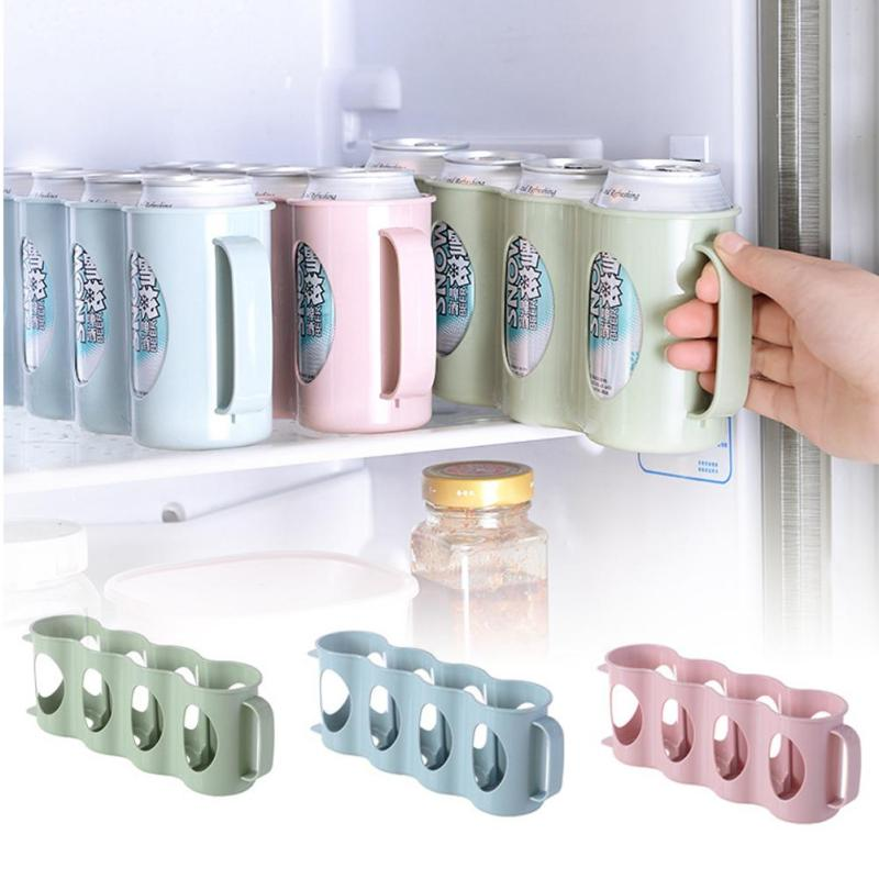 1Pcs Useful Refrigerator Storage Box Kitchen Accessories Beverage Can Space-saving Cans Finishing Four Case Organizer A45