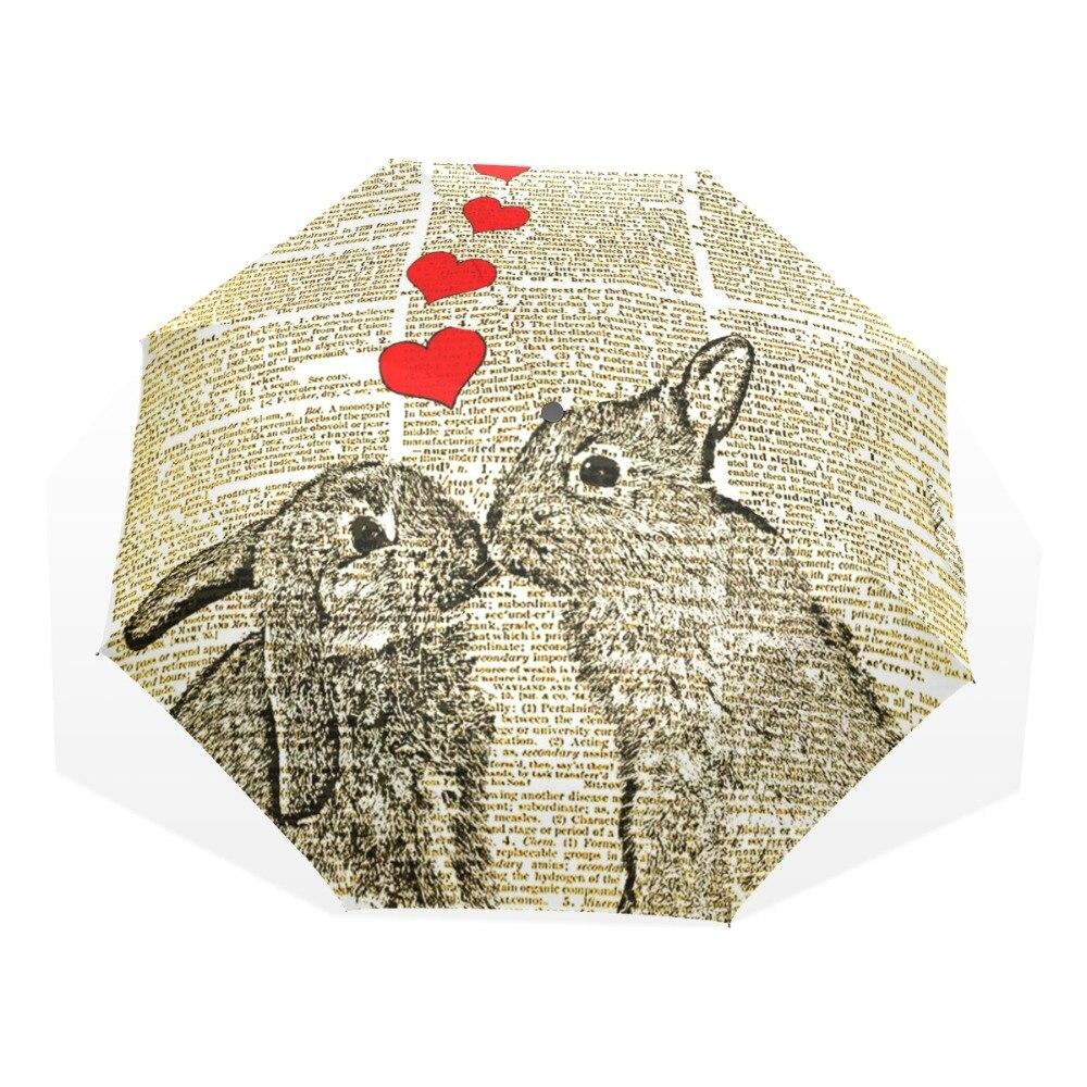 Niedlichen Kaninchen Liebhaber Drei Taschenschirm 8 Rippe ...