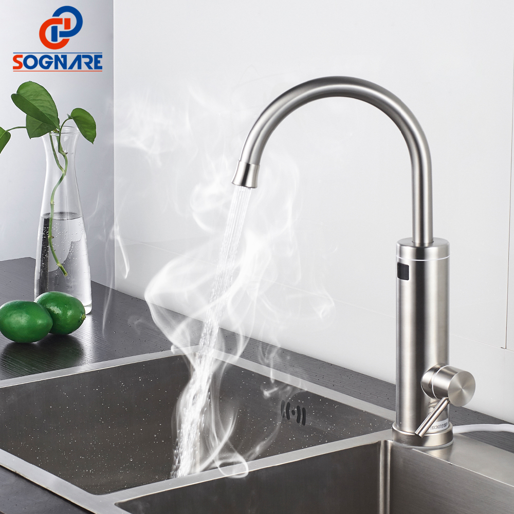 SOGNARE Temperature Display Instant Hot Water Tap Tankless Electric Faucet Kitchen Instant Hot Faucet Water Heater Water Heating free shipping instant electric hot water tap display temperature fast heater faucet kitchen cold dual use home company toilets