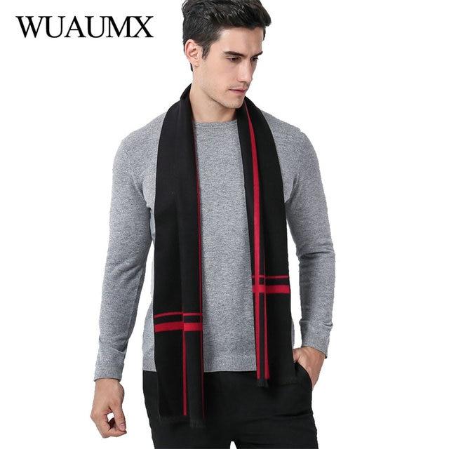 38fea72bca099 Wuaumx Brand Winter Designer Scarf Men Striped Basic Scarves For Male Warm  Scarf Shawls Soft Neckerchief Muffler foulard homme