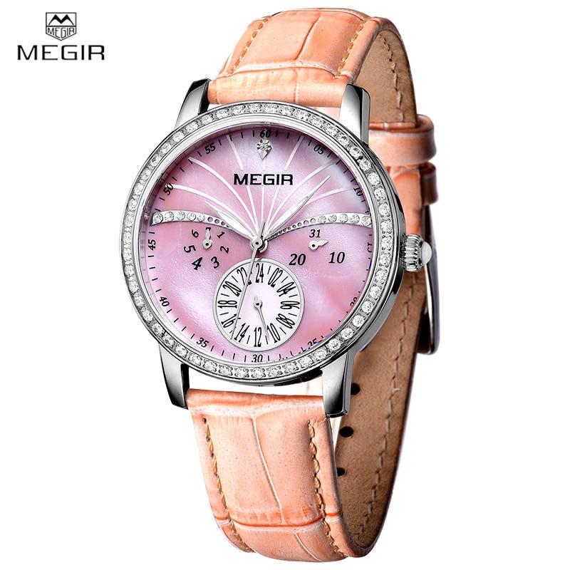 MEGIR Luxury Brand Brand Women Watch Fashion Ladies Clock Chronograph Wrist Watch Waterproof Leather Strap Quartz Watches js 720a