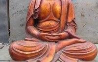 35inch Chinese Large ancient Wood handwork Carved painted Sakyamuni Buddha Statue