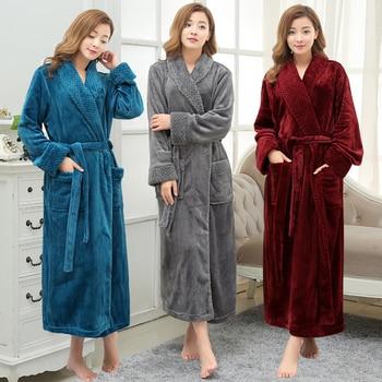 Lovers Long Warm Coral Fleece Winter Bathrobe Women Men Soft Flannel Full Sleeve Kimono Bath Robe