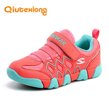QIUTEXIONG Children Shoes Boys Sneaker For Girls Shoes Genuine Leather Sport Shoes Breathable TPR Flat Running kinderschoenen