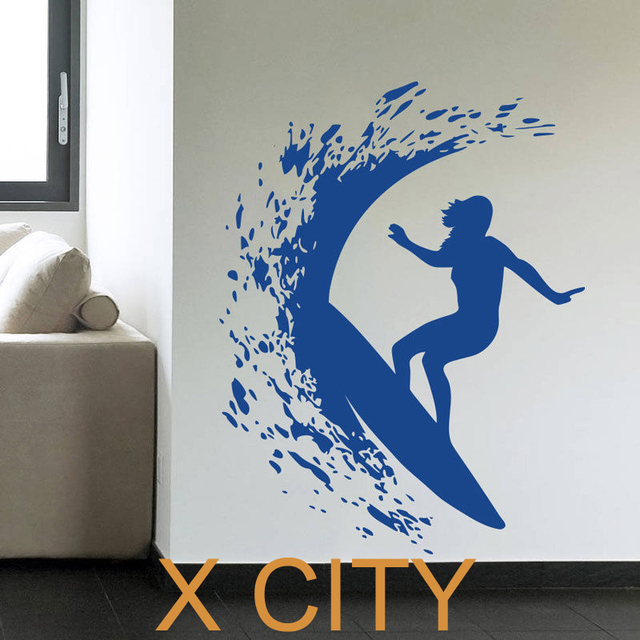 Surfer girl woman surfing waves creative sport vinyl wall decal art decor sticker room stencil mural