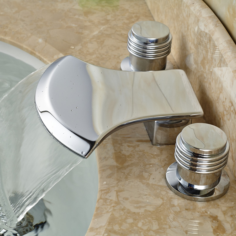 Deck Mounted Bathroom Waterfall Bathtub Sink Faucet Widespread Brass Basin Mixer Taps Chrome Finish deck mounted bathroom waterfall bathtub sink faucet widespread brass basin mixer taps chrome finish