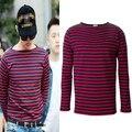 Kpop G дракон же стиль Tshirt длинным рукавом узоров о-образным вырезом мужские уличная высокое улица футболку бесплатная доставка