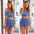 Summer Style Womens 2piece Fashion Sets Print Shorts Crop Top Sexy Strapless Off The Shoulder 2 Piece Set Women Cropped Vestido