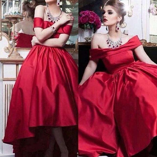 404a427d57a9 Simply Dark Red Off The Shoulder Evening Dresses High Low Length Ball Gowns  Plus Size Arabic