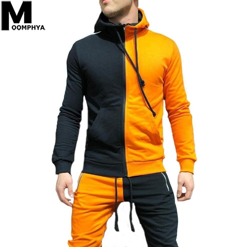 Moomphya 2019 New Patchwork Color Block Man Hoodie Streetwear Hip Hop Side Stripes Hooded Sweatshirts Men Pullover