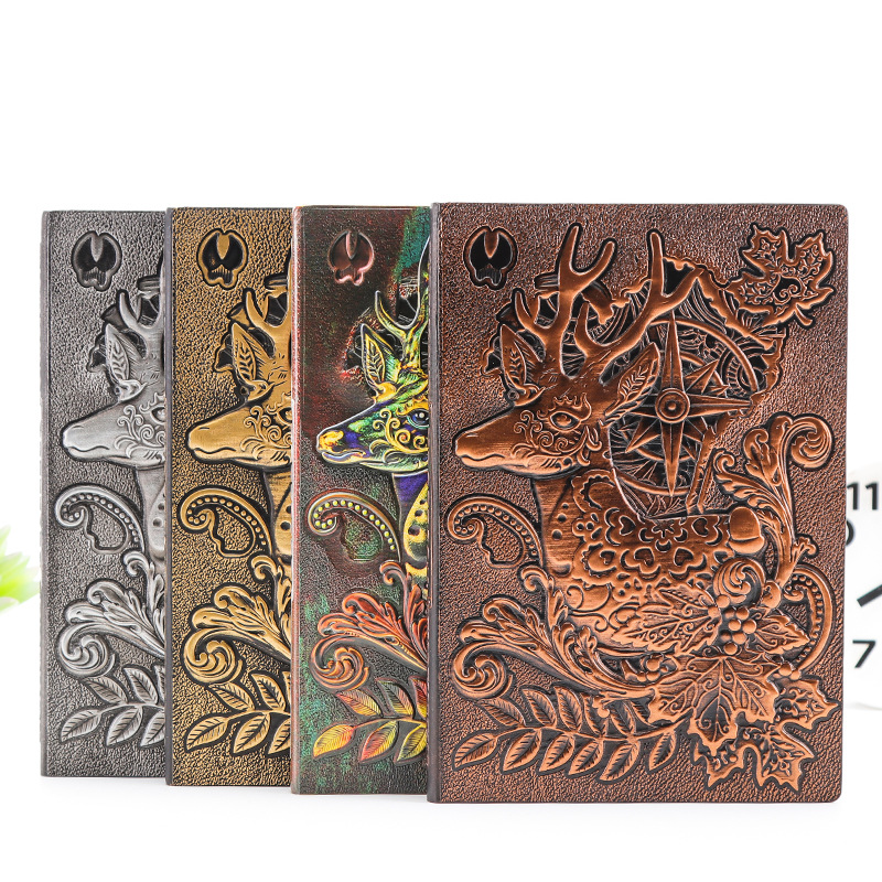100 Sheets Classic Cartoon European Embossed Retro Elk Notebook Creative Upscale Business Office Gift Notepad