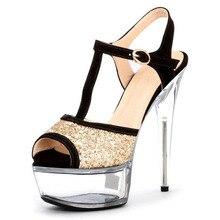 Zapatos de las mujeres 6 pulgadas tacones altos Sexy verano Sparkling  Glitter zapatos de boda 15 cm Sexy plataformas Stiletto sa. 2989bc5b7c2f