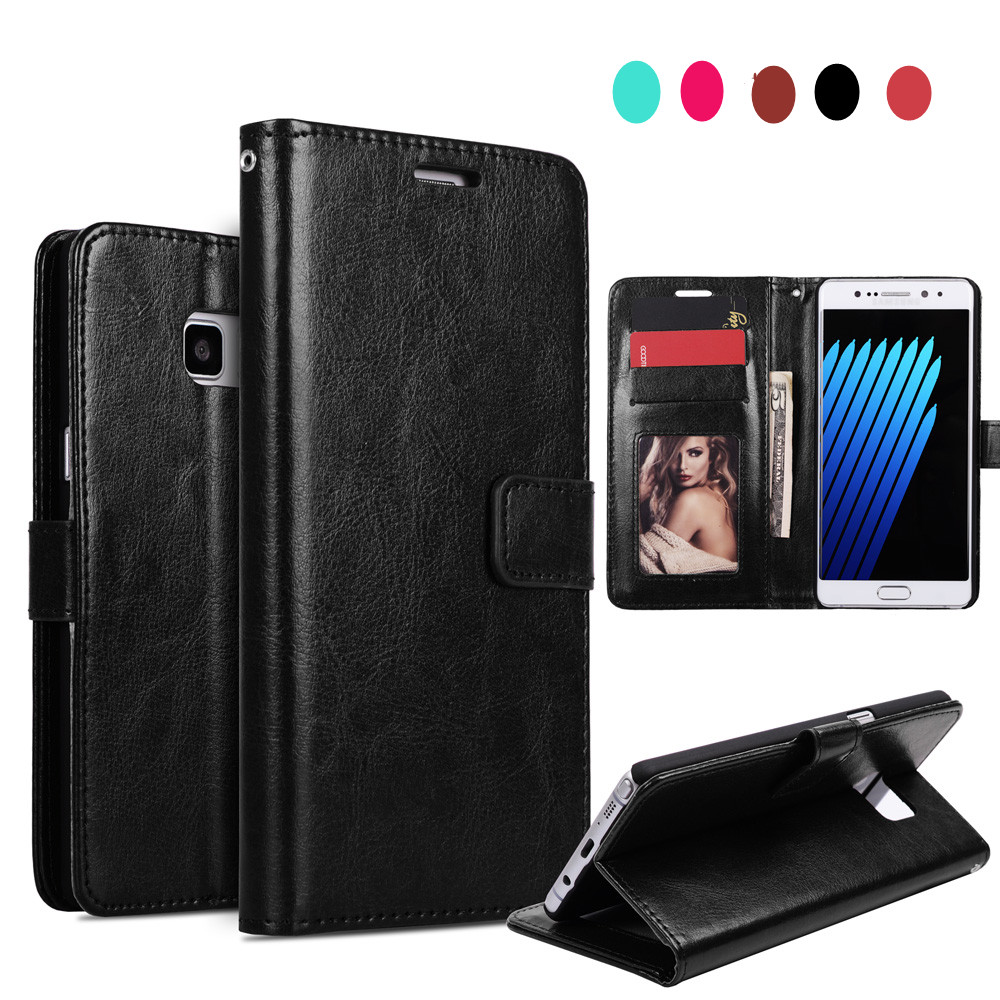 For Samung Galaxy S7 Case Card Cash Slot Strap KickStand S8 Cover PU Leather Phone Case
