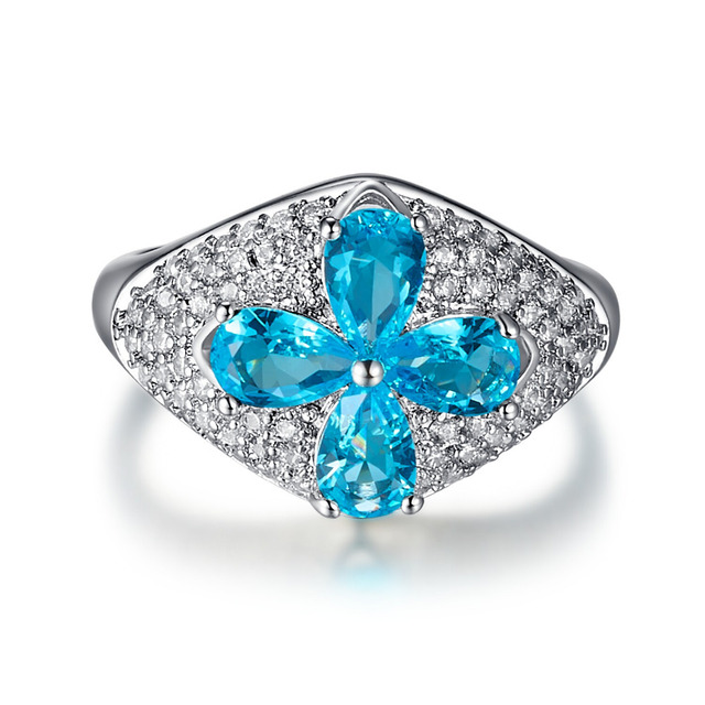 Cqueen Art Deco Jewelry Party Rings London Blue Topaz White Cz Diamond 18k Gold Plated