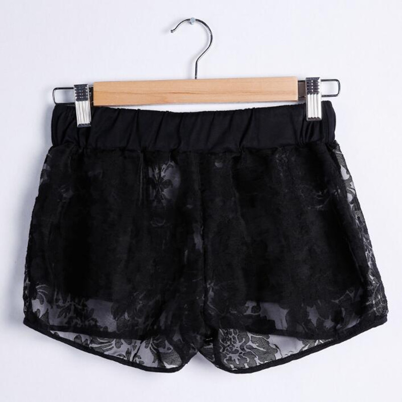 Helisopus Sexy Ladies Lace   Shorts   Summer Elastic Middle Waist Hollow Out White Black Slim Stretch Casual   Short   Pants