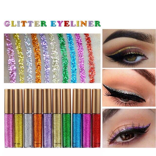 10 Colors/set Glitter Eyeliner Colorful Mermaid Shimmer Eye Liner Set Profissional Complete Makeup Long-lasting Beauty  1