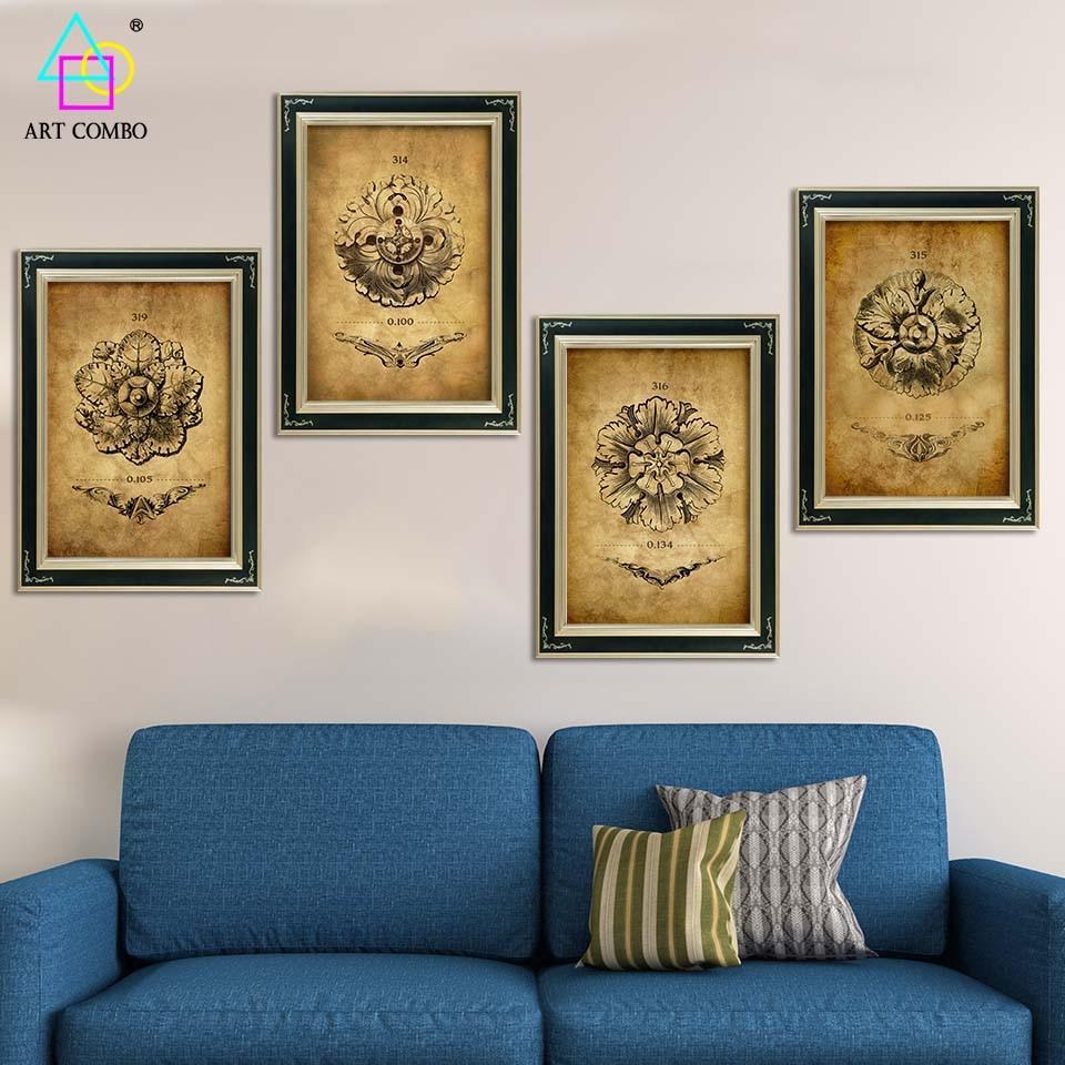 Classic Home Decor Pieces: Canvas Painting Classic Decorative Pattern Graceful Lines