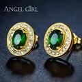 Angel Girl 2016 мода jewelly Эллипс форма Позолоченные Зеленый камень CZ Серьги Стержня для Женщин свадебные серьги подарок