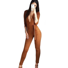F Abocid Women Fashion Sexy Camel Deep V Collar Belt Chammy Seven Point Sleeve Jumpsuits