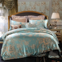 Cheap Polyester/Cotton Green Jacquard Duvet Cover Set Queen Bedding Sets For Adults Grey Bed Sheet Pillowcase Flower Quilt Cover