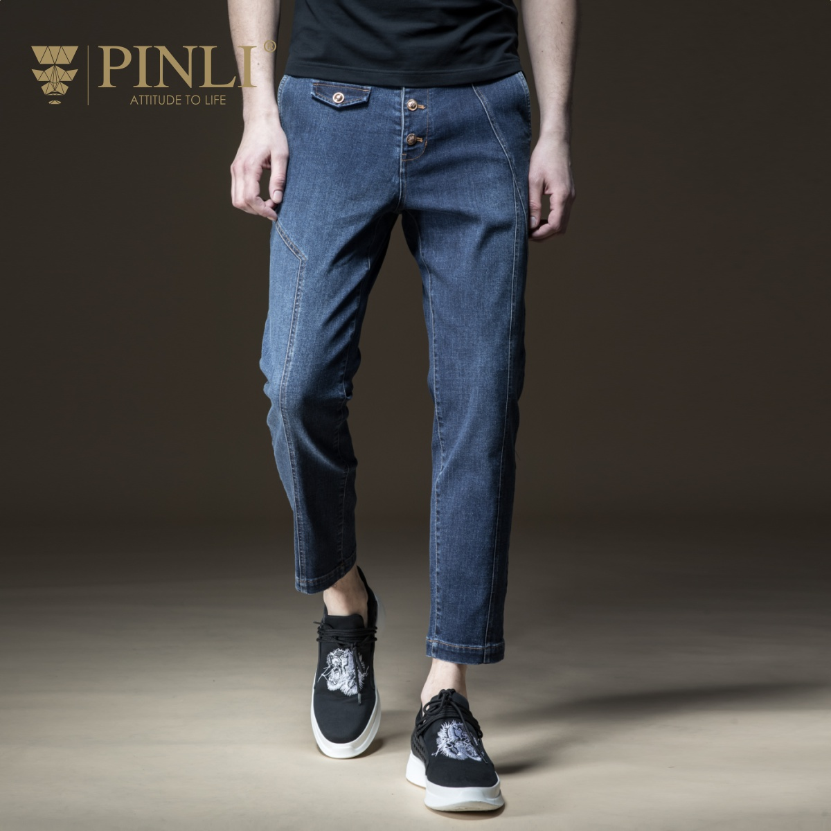 PINLI 2018 summer new mens new mens clothes and little feet, casual cowboy pants Boomer B182216270