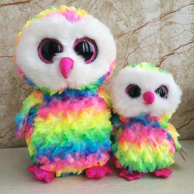 2 pcs 25cm+ 15cm Multicolor Owl Plush Toy Ty Beanie Boos Collection Owen  Big Eyed Stuffed Animal Doll Kids Toy Birthday Gift 9de274fa117c