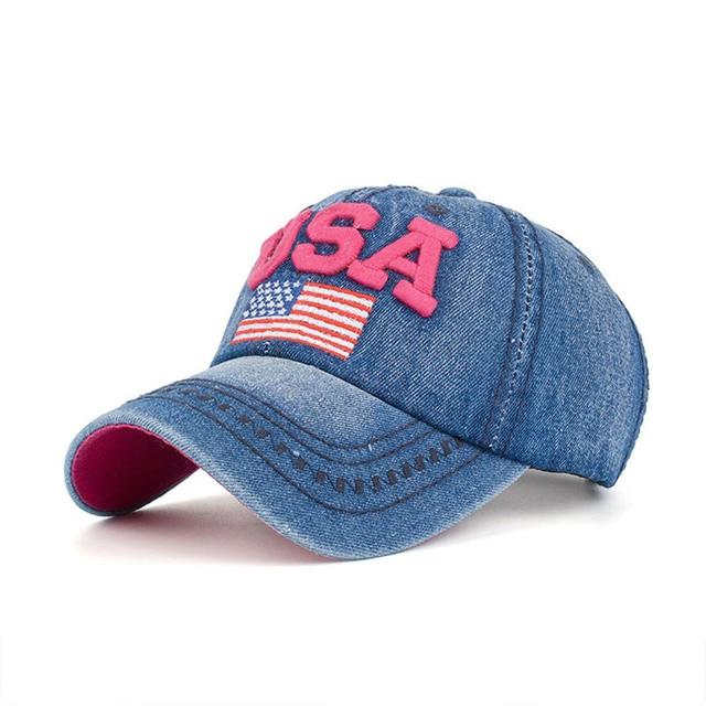 Fashion embroidered USA flag snapback hats denim baseball hat cap for men  women boy girls Hot Sale `Women s Cap whit Rhinestone 9bc84d0201