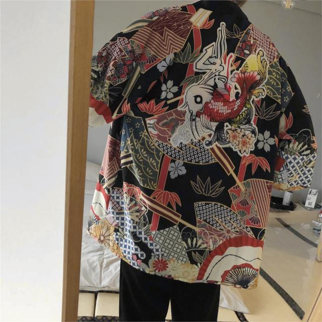 2018 winter mens kimono japanese clothes streetwear casual kimonos jackets harajuku japan style cardigan outwear