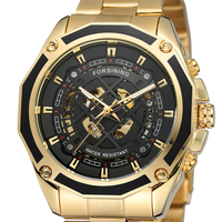 2019 Forsining Top Brand Steampunk Gear Design Transparent Case Automatic Luxury Watch Gold Stainless Steel Skeleton Men Gift