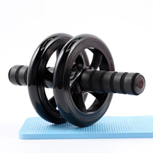No Noise Gym Ruote addominali Ab Rollers con tappetino per l'esercizio Attrezzature per il fitness Accessorio Unisex Black Double Wheeled Belly