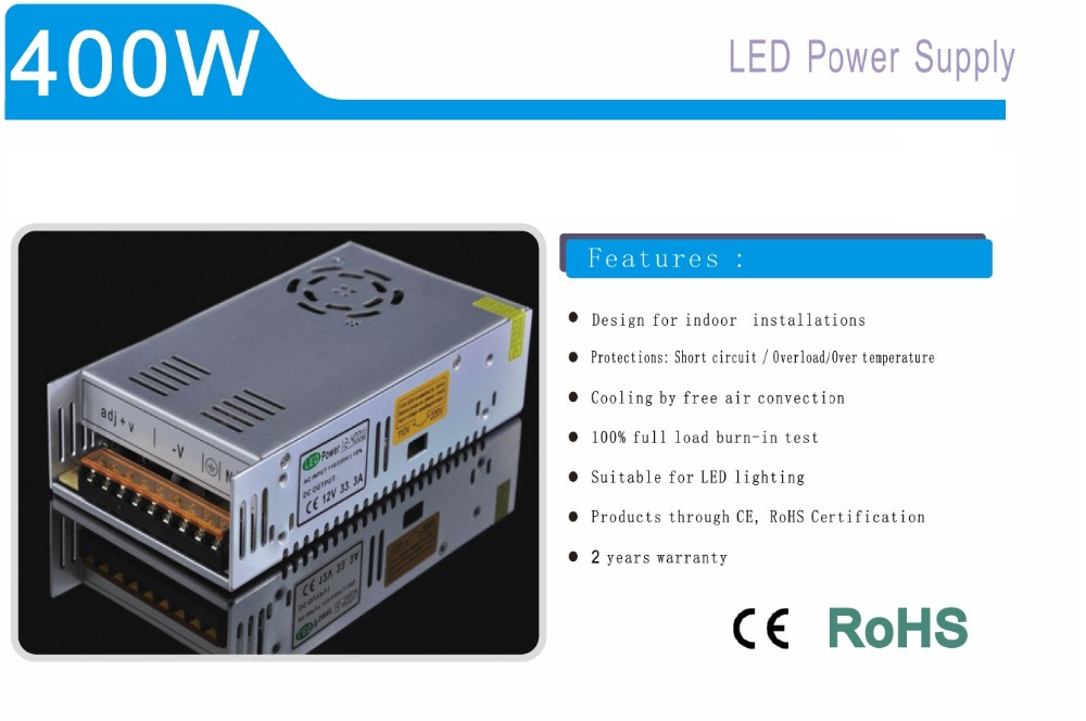400W Aluminum Shell Lighting Transformer 12V 24V Switching Power Supply For LED strip LED module LED point light source etc.