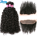 Lace Frontal Closure With Bundles Malaysian Kinky Curly Virgin Hair With Closure 3 Bundles With Frontal Closure Kinky Curly Hair