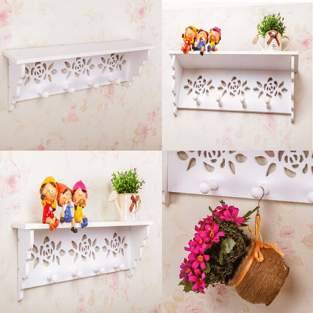 White Wood Rack Stands Simple Modern Wall Shelf Shelving Korean Hollow Parion Art Decoration