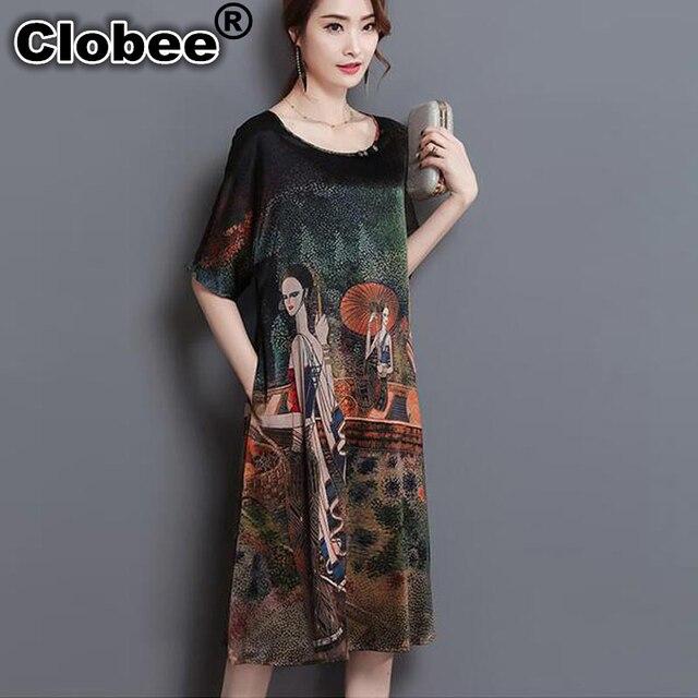 Clobee 2017 vintage print ukraine women summer dress Office Robe plus size  4XL rayon midi dress vestidos de festa tunique femme 95f79413fdcf