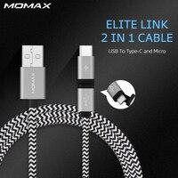 כבל מיקרו USB קלוע Momax עמיד 2 ב 1 מטען מהיר סוג C מחבר נתונים לxiaomi 4C Nexus 5X6 P נוקיה N1 אחד בתוספת 2