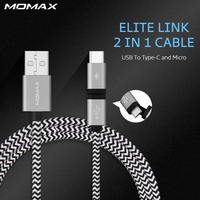 Momax Durable Braided Micro USB Cable 2 In 1 Type C Fast Charger Data Connector For