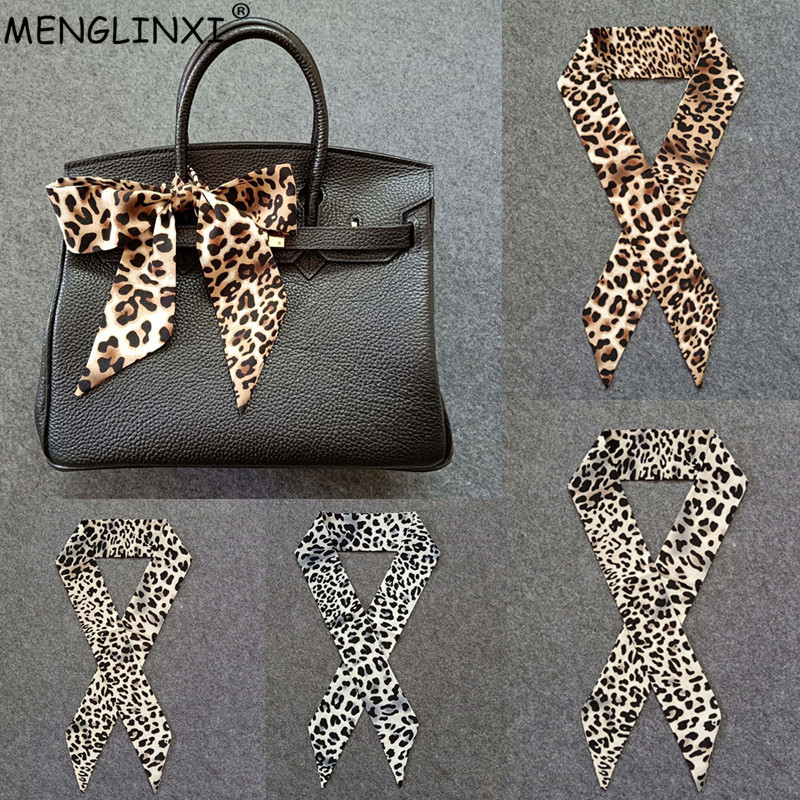 Fashion Leopard Scarf Women Bag Scarf 2020 New Brand Skinny Scarf For Women Head Neck Long Handle Bag Scarves Wraps