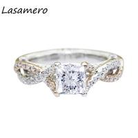 LASAMERO 공주 컷 5.5 미리메터 Moissanites 연구소는 다이아몬드 분할 크로스 밴드 억양 14 천개 화이트 골드 웨딩 약혼 반지