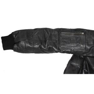 Image 5 - Maplesteed 정품 가죽 오리 자켓 남자 후드 진짜 양피 공군 파일럿 두꺼운 폭격기 리얼 모피 파커 스 겨울 코트 144