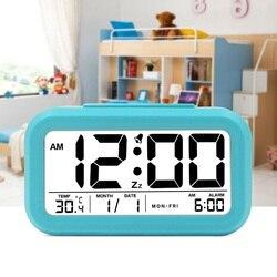 Digital Alarm Clock Student Clock Large LCD Display Snooze Electronic Kids Clock Light Sensor Nightlight Office Table Clock
