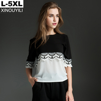 Black Big Size Chiffon Blouse Summer Lace Patchwork O Neck Half Sleeve Loose Shirts L XL